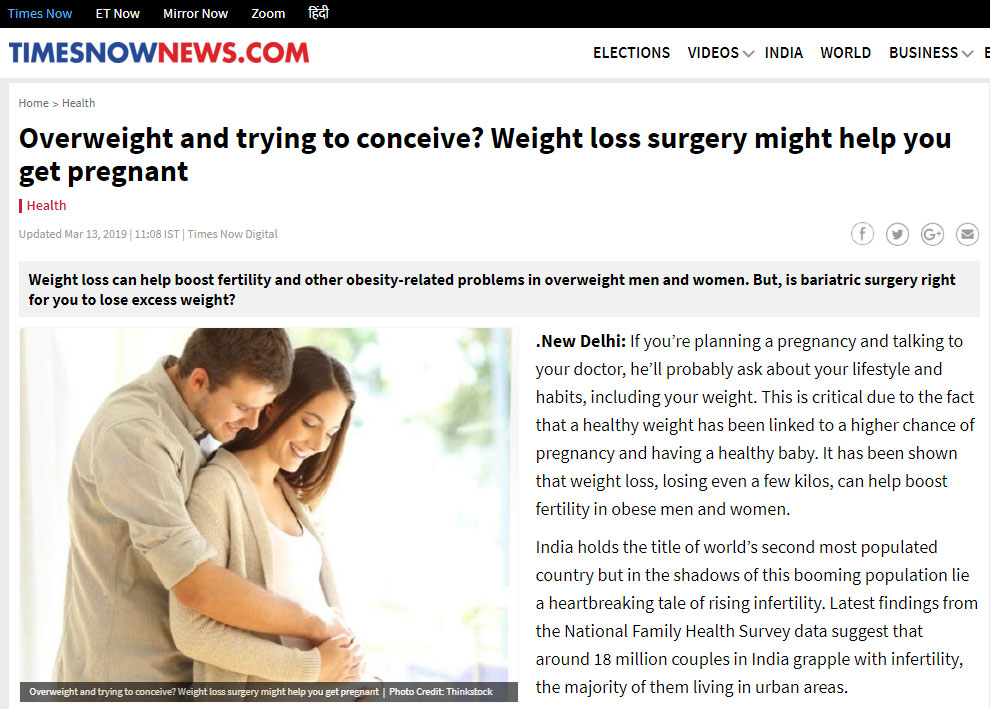 Overweight And Trying To Conceive Times Now National Edition 13 March 2019 Digital Obesity Surgery India